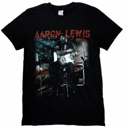 Aaron Lewis Black Photo Tee- Flag Background