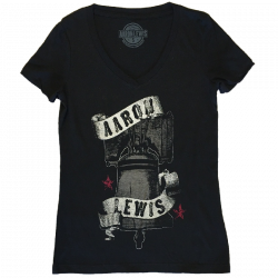 Aaron Lewis Ladies Black V Neck Liberty Bell Tee