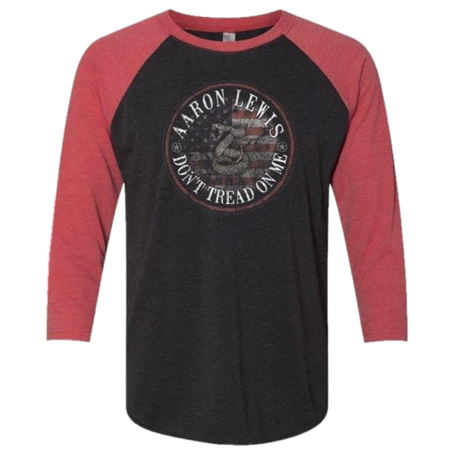 Aaron Lewis Vintage Black and Red Raglan Tee- Don't Tread On Me