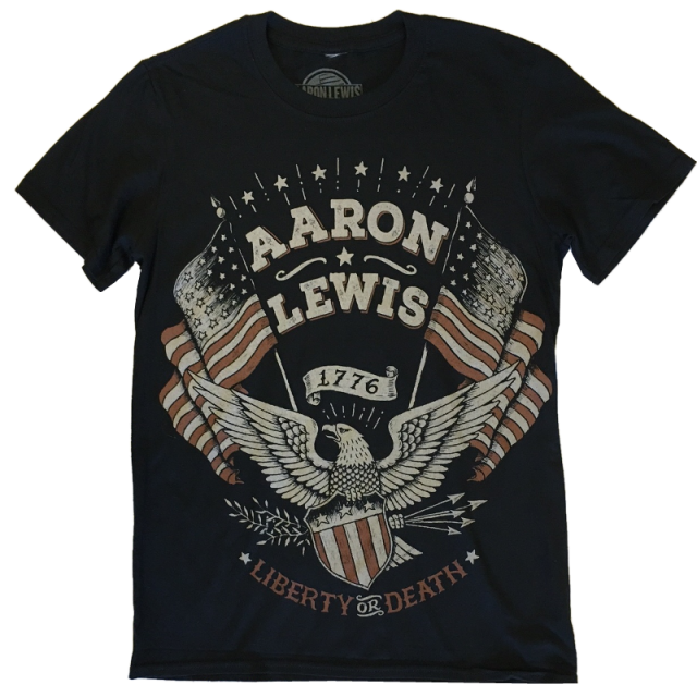 Aaron Lewis Black Tee- Liberty or Death Eagle Design