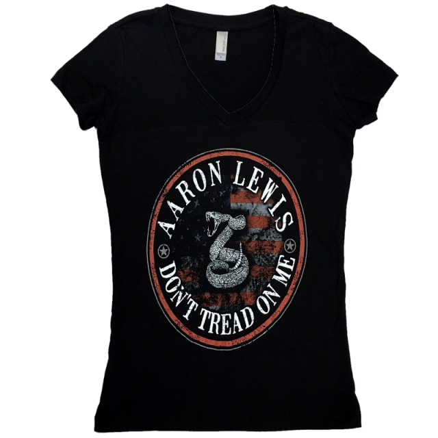 Aaron Lewis Ladies Black V Neck Tee- Don't Tread On Me