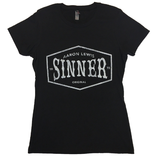 Aaron Lewis Ladies Black Sinner Tee