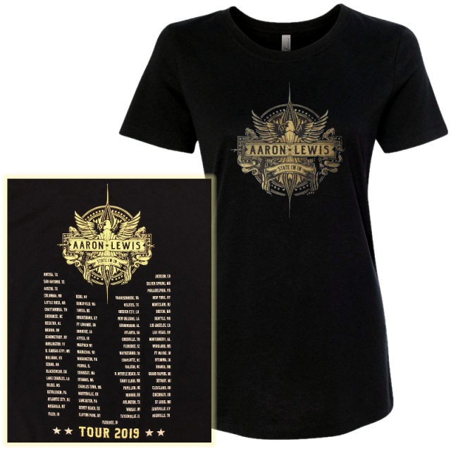 Aaron Lewis State I'm In LADIES Black Tour Tee
