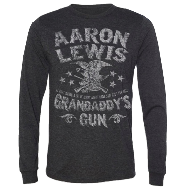 Aaron Lewis Long Sleeve Charcoal/Black Grandaddy's Guns Tee