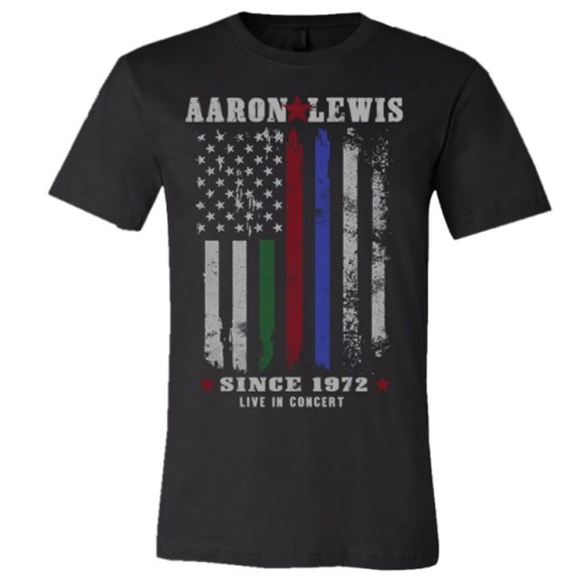 Aaron Lewis First Responders Black Tee- Live In Concert