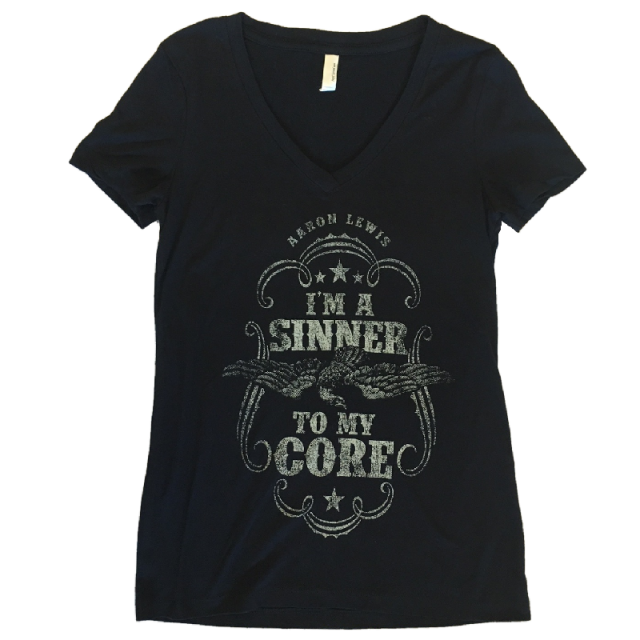 Aaron Lewis Ladies Black V Neck Tee-Sinner