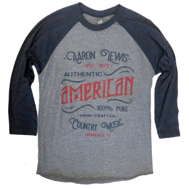 Aaron Lewis Vintage Heather and Navy Raglan- American Country Music