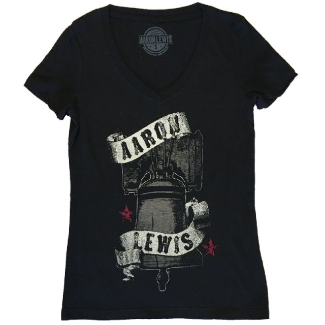 Aaron Lewis Ladies Black V Neck Liberty Bell Tee