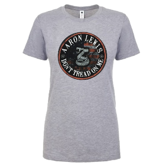 Aaron Lewis Ladies Light Heather Grey Don't Tread On Me Tee